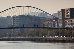 View of the Zubizuri bridge on Nervion River, Bilbao, Biscay Province, Basque Country Region, Spain