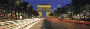 View of Traffic on an Urban Street, Champs Elysees, Arc De Triomphe, Paris, France