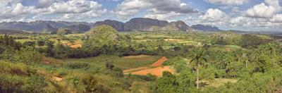 View of valley with farms, Mogotes, Vinales Valley, Cuba