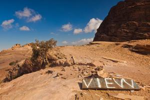 View point sign, Ad Deir Monastery, Ancient Nabatean City of Petra, Wadi Musa, Ma'an Governorate...