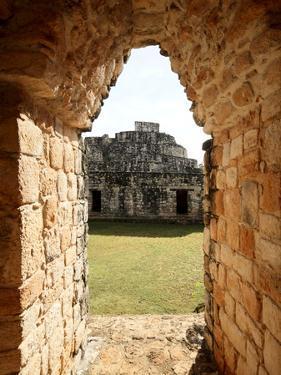 View Through the Entrance Arch, Mayan Ruins, Ek Balam, Yucatan, Mexico, North America