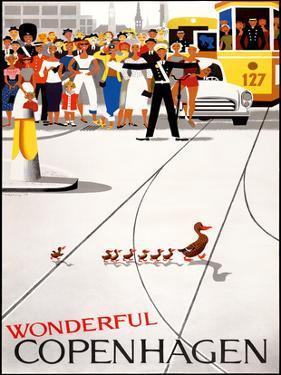 Wonderful Copenhagen - Copenhagen, Denmark - Mother Duck and Ducklings Crossing Street by Viggo Vagnby