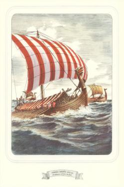 Viking Ship with Striped Sail