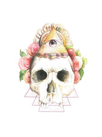 Skull, Flowers, Watercolor by viktoria