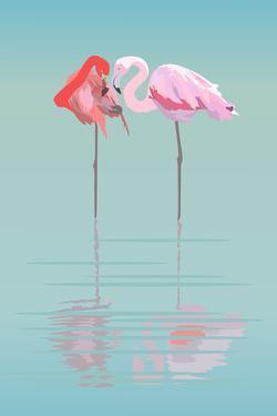 Pair of Flamingos in the Pond by Viktoriya Panasenko