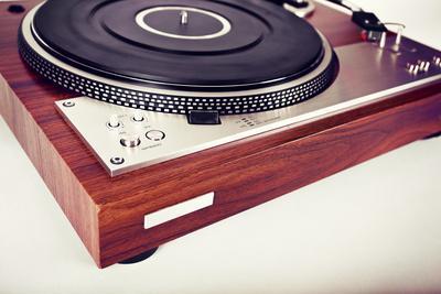 Stereo Turntable Vinyl Record Player Analog Retro Vintage Angle View
