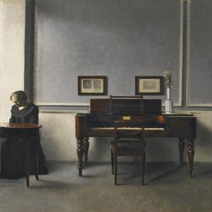 Ida in an Interior with Piano by Vilhelm Hammershoi