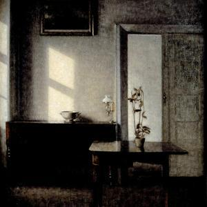 Interior with Potted Plant on Card Table, 1910-1911 by Vilhelm Hammershoi
