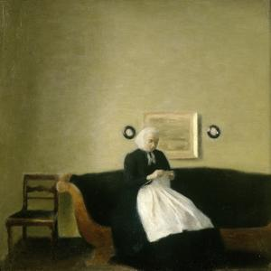 Interior with the Artist's Mother, 1889 by Vilhelm Hammershoi