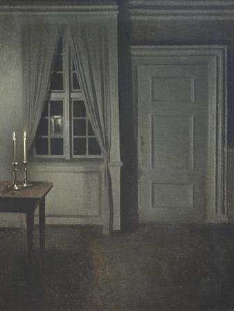 Interior with Two Candles by Vilhelm Hammershoi