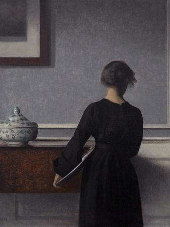 Interior with Young Woman from Behind