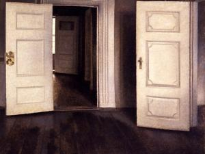 Open Doors by Vilhelm Hammershoi
