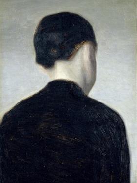 Seated Figure, Seen from Behind (Anna Hammershoi) 1884 by Vilhelm Hammershoi