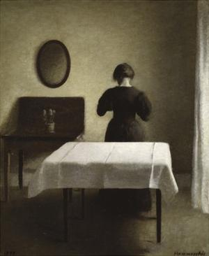 Untitled (Woman with Her Back Turned in a Dark Domestic Interior) by Vilhelm Hammershoi