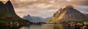 Village and fjord among mountains, Reine, Moskenesoya, Lofoten, Nordland County, Norway