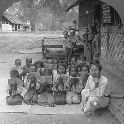 Village School and Teacher, Amarapura, Burma, 1908