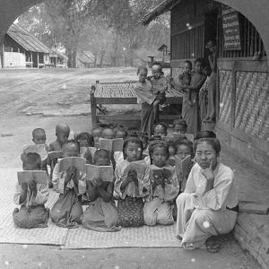 Village School and Teacher, Amarapura, Burma, 1908