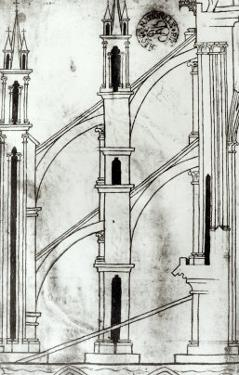 Section of the Wall and Arch of the Absidial Chapels of Reims Cathedral by Villard de Honnecourt