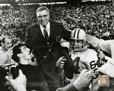 Vince Lombardi Being carried off the field after the Packers beat the Raiders in SuperBowl II