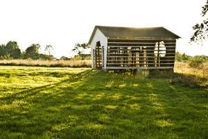 Late Day Sun Pokes Through the Slats of a Corn Crib on a Bucks County, Pennsylvania Farm by Vince M. Camiolo