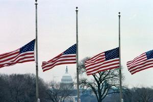 Washington Flags at Half-Staff by Vince Mannino
