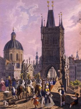 View of the Old Town Bridge Tower from Charles Bridge, 1847 by Vincenc Morstadt