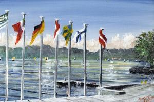 Flags on Lac Leman, 2010 by Vincent Alexander Booth
