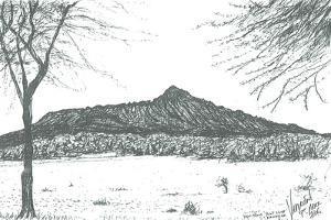 Mountain from boat club at lake Naivasha, Kenya; 2006 by Vincent Alexander Booth