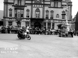 Vincent HRD, J.M. West in Isle of Man TT, Parliament Square Ramsey