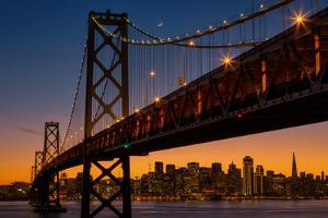 Bay Bridge and Crescent Moon Cityscape, California by Vincent James