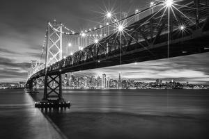 Bay Bridge Special - Black White Night Photography, San Francisco Bay by Vincent James
