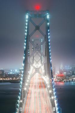 Blue City Bridge Head On, Night View San Francisco California by Vincent James
