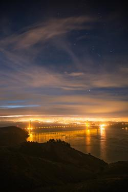 Classic Night View and Stars Over Golden Gate Bridge, San Francisco by Vincent James