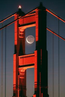Coffee and Crescent, Moon Alignment, Golden Gate Bridge, San Francisco by Vincent James