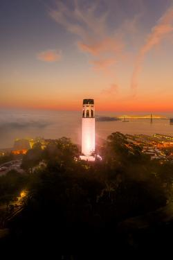 Coit Tower Magic -  Smoky Burn, Downtown San Francisco Bay by Vincent James
