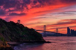 Deep Red Sunset at Treasure Island, San Francisco Bay Bridge by Vincent James