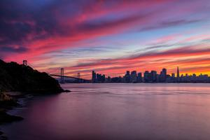 Divine Deep Sunset at Bay Bridge, San Francisco Bay Area by Vincent James