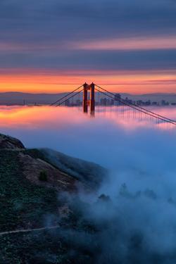Divine Sunrise Light and Fog, Golden Gate Bridge, San Francisco by Vincent James