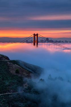 Divine Sunrise Light and Fog, Golden Gate Bridge, San Francisco by Vincent James