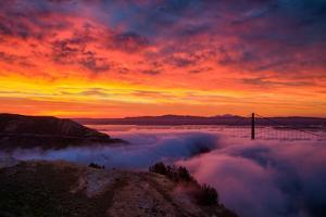 Epic Sunrise and Low Fog at Golden Bridge, San Francisco by Vincent James