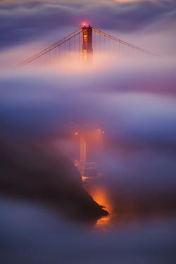 Ethereal Gold Detail in Fog at San Francisco, Golden Gate Bridge by Vincent James