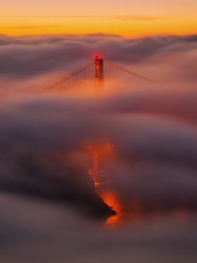 Ethereal Gold, Fog Covered Golden Gate Bridge, San Francisco by Vincent James