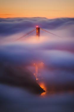 Ethereal Gold Sunrise in Fog at San Francisco, Golden Gate Bridge by Vincent James