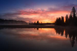 Fiery Misty River Sunrise, Yellowstone River, Wyoming by Vincent James
