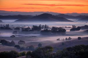 Fiery Sunrise and Mellow Hills of Petaluma, Sonoma County by Vincent James