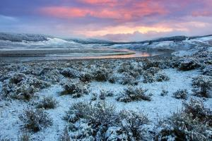 Fire in the Sky and Frosty Landscape, Hayden Valley, Yellowstone by Vincent James