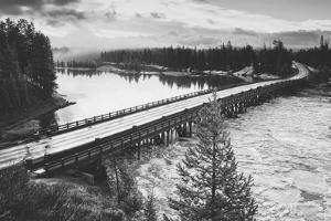 Fishing Bridge Scene in Black and White, Yellowstone National Park by Vincent James