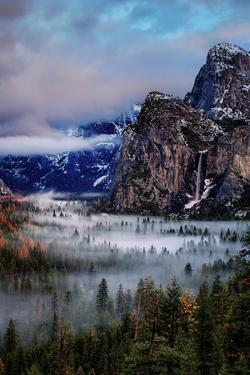 Fog and Mood Within Yosemite Valley, Bridallveil Falls by Vincent James