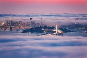 Fog City Dream, San Francisco Night Cityscape and Sunset Fog by Vincent James