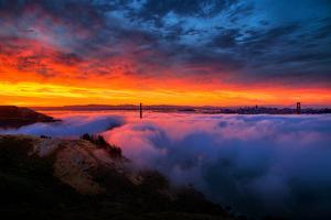Glorious Epic Sunrise and Fog, Iconic Golden Gate Bridge, San Francisco by Vincent James